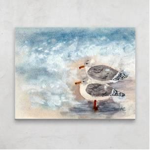 pareja de gaviotas, acuarela